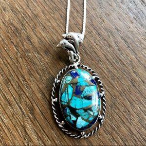 Copper chrysocolla/lapis lazuli handmade necklace